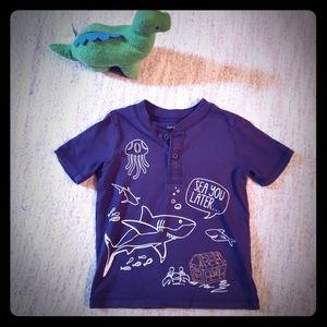 Shark Sea You Later half-button t-shirt
